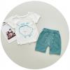 เสื้อ+กางเกง สีฟ้า แพ็ค 3 ชุด ไซส์ 90-100-110