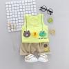 ชุดเซตเสื้อกล้ามสีเขียวอ่อนลายไลน์เฟรนด์+กางเกงสีน้ำตาล แพ็ค 4 ชุด [size 6m-1y-2y-3y]