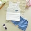 ชุดเซตเสื้อกล้ามสีขาว+กางเกงสีฟ้า แพ็ค 4 ชุด [size 6m-1y-2y-3y]