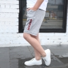 กางเกงขาสามส่วนสีเทาแต่งลายตัวหนังสือสีแดง แพ็ค 3 ชิ้น [size 4y-5y-6y]