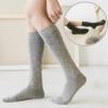 [พร้อมส่ง] S7591 ถุงเท้ายาวครึ่งแข้ง สีล้วน พิมพ์ลายตาราง สไตล์นักเรียนญี่ปุ่น