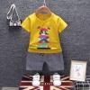 ชุดเซตเสื้อสีเหลืองลายมาริโอ้+กางเกงลายสก็อตสีเทา แพ็ค 4 ชุด [size 6m-1y-2y-3y]