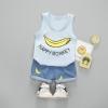 ชุดเซตเสื้อกล้ามสีฟ้าลายกล้วย+กางเกงสีฟ้า [size 6m-1y-2y-3y]