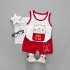 ชุดเซตเสื้อกล้ามลายน้องหมี+กางเกงสีแดง แพ็ค 4 ชุด [size 6m-1y-2y-3y]