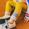 กางเกงเลคกิ้งสีเหลืองลายนกฮูกสีเทาที่ปลายขา แพ็ค 6 ชิ้น [size 1y-2y-3y]