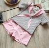 ชุดเซตเสื้อลายขวาง+กางเกงขาสั้นสีชมพู [size 2y-4y-5y]