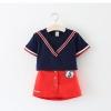 ชุดเซตเสื้อคอวีสีกรมท่า+กระโปรงสีแดง แพ็ค 5 ชุด [size 2y-3y-4y-5y-6y]
