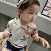 เสื้อแขนสั้นสีครีมลายดอกไม้ [size 2y-3y-4y-5y-6y]