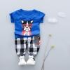 ชุดเซตเสื้อสีน้ำเงินลายน้องหมา+กางเกงสีลายสก็อตสีเทา [size 1y-2y-3y]