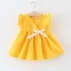ชุดเดรสสีเหลืองแต่งโบว์สีขาวที่เอว แพ็ค 4 ชุด [size 6m-1y-18m-2y]
