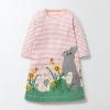 ชุดเดรสลายขวางสีชมพูปักกระต่ายที่กระโปรง [size 3y-4y]