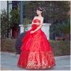 Pre-order / เช่า ชุดแฟนซี ชุดราตรียาว สีแดง ผ้าปักเลื่อม คลุมผ้าโปร่งจับจีบ