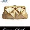 พร้อมส่ง Evening Clutch กระเป๋าออกงาน VictoriaDelef ผ้าซาติน จับเดรป สีทอง