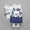 ชุดเซตเสื้อกล้ามลายสิงโต+กางเกงสีน้ำเงิน แพ็ค 4 ชุด [size 6m-1y-2y-3y]
