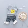 ชุดเซตเสื้อสีเทาสกรีน newyork city+กางเกงลายทางสีเทา แพ็ค 4 ชุด [size 6m-1y-2y-3y]