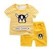 ชุดเซตเสื้อลายขวางสีเหลืองลายน้องหมา+กางเกงสีเหลือง [size 1y-2y-3y-4y-5y]