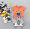 เสื้อ+กางเกง สีส้ม แพ็ค 4 ชุด ไซส์ 80-90-100-110