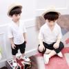 ชุดเซตเสื้อสีขาว+กางเกงสีดำ แพ็ค 3 ชุด [size 18m-2y-3y]