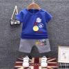 ชุดเซตเสื้อสีน้ำเงินแต่งลายโลโก้+กางเกงสีเทา แพ็ค 3 ชุด [size 6m-1y-3y]