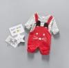 เสื้อ+เอี๊ยมกางเกง สีแดง แพ็ค 4 ชุด ไซส์ 80-90-100-110