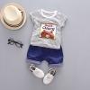 ชุดเซตเสื้อลายขวางสีดำลายหมีบราวน์+กางเกงสีกรมท่า แพ็ค 2 ชุด [size 6m-3y]