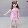 ชุดเซตเสื้อลายสก็อตสีชมพู+กางเกงสีขาว แพ็ค 5 ชุด [size 6m-1y-18m-2y-3y]