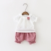 ชุดเซตเสื้อสีขาว+กางเกงสีชมพู+เข็มกลัดดอกไม้ แพ็ค 4 ชุด [size 6m-1y-18m-2y]