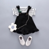 ชุดเซตเสื้อลายขวางสีดำ+เอี๊ยมกางเกงสีดำ แพ็ค 4 ชุด [size 6m-1y-18m-2y]