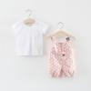 ชุดเซตเสื้อสีขาว+เอี๊ยมลายจุดสีชมพู [size 6m-1y-18m-2y]