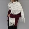 [พร้อมส่ง] SC7506 ผ้าพันคอไหมพรมกันหนาว สีพื้น ลายขีด Dash Line
