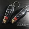 ไฟแช็ค พวงกุญแจ ลาย ตราสัญลักษณ์ PORSCHE รถปอร์เช่ ไฟฟู่สีแดง