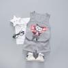 ชุดเซตเสื้อกล้ามสีเทาลายน้องแมว+กางเกงสีเทา แพ็ค 2 ชุด [size 1y-2y]