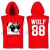 [พร้อมส่ง] เสื้อฮู้ดแขนกุดกว้าง EXO WOLF 88 (สีแดง)