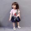 ชุดเซตเสื้อสีชมพูลายดอกกุหลาบ+กางเกงสีกรมท่า [size 6m-1y-2y-3y]