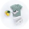 ชุดเซตเสื้อลายขวางสีเขียวลายไดโนเสาร์+กางเกงสีเทา แพ็ค 4 ชุด [size 6m-1y-2y-3y]