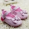 รองเท้าหัดเดินหนังเด็กเล็กลายแต่งโบว์สีชมพู 140*6