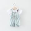 ชุดเซตเสื้อสีขาว+เอี๊ยมลายจุดสีฟ้า [size 6m-1y-18m-2y]