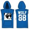 [พร้อมส่ง] เสื้อฮู้ดแขนกุดกว้าง EXO WOLF 88 (สีน้ำเงิน)