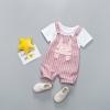 ชุดเซตเสื้อสีขาวลายกระต่าย+เอี๊ยมลายทางสีชมพูลายกระต่าย แพ็ค 4 ชุด [size 6m-1y-2y-3y]