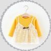 ชุดเดรสแขนยาวสีเหลืองแต่งสายเดี่ยวลายลูกไม้สีขาว [size 6m-2y-3y]