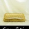 Evening Clutch กระเป๋าออกงาน สีทอง ฝาโค้งจับจีบ ประตับคริสตัลปากกระเป๋า พร้อมสายโซ่คล้องไหล่