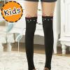 [ไซส์เด็ก] K6825 ถุงน่องเด็ก แบบสีดำครึ่งขา ลายแมวดำ หูชมพู Black Cat