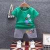 ชุดเซตเสื้อสีเขียวแต่งลายโลโก้+กางเกงสีเทา แพ็ค 4 ชุด [size 6m-1y-2y-3y]