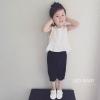 ชุดเซตเสื้อแขนกุดสีขาว+กางเกงสีดำ แพ็ค 5 ชุด [size 2y-3y-4y-5y-6y]