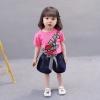 ชุดเซตเสื้อสีบานเย็นลายดอกกุหลาบ+กางเกงสีกรมท่า แพ็ค 4 ชุด [size 6m-1y-2y-3y]