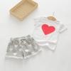 ชุดเซตเสื้อสีขาวลายหัวใจ+กางเกงขาสั้นสีเทาลายหัวใจ แพ็ค 4 ชุด [size 2y-4y-5y-6y]