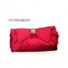 พร้อมส่ง Evening Clutch กระเป๋าออกงาน VictoriaDelef ผ้าซาติน จับเดรป สี Hot Pink