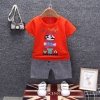 ชุดเซตเสื้อสีแดงลายมาริโอ้+กางเกงลายสก็อตสีเทา แพ็ค 4 ชุด [size 6m-1y-2y-3y]