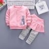 ชุดเซตเสื้อแขนยาวสีชมพูลายกระต่าย+กางเกงกระโปรงสีชมพู แพ็ค 4 ชุด [size 1y-2y-3y-4y]
