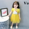 ชุดเดรสสีเหลืองแต่งกระต่ายที่หน้าอก [size 6m-1y-18m-2y-3y]